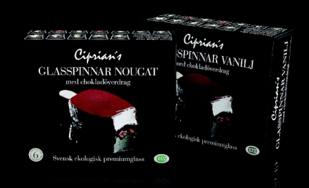 Ciprians ekologiska gräddglasspinnar med smak av nougat och vanilj