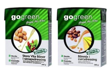 Nu breddar GoGreen sitt bönsortiment med två smaksatta varianter Bönmix i Currydressing & Stora Vita bönor i Senapsdressing