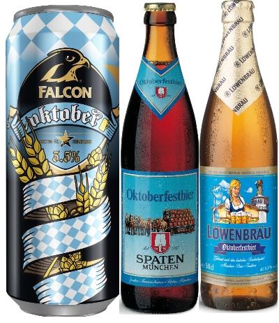 Oktoberfestöl, Spaten, Löwenbräu, Falcon Oktober