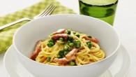 Spaghetti med skinka, ärtor och grädde. Pastasåsen serveras med klassisk Spaghetti som fångar upp den krämiga såsen perfekt.