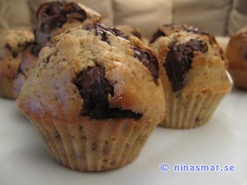 Muffins med mintchoklad