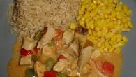 Snabb och enkel kycklinggryta med sting. Servera med en sallad, ris eller bara så enkelt som majs