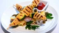 Vegetarisk grillspett med Quorn med citron och dijonmarinad