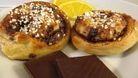 Kanelbullar med fyllning av apelsin och choklad